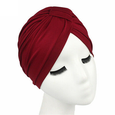 Women men Unisex Indian Style Stretchable Turban Hat Hair Head Wrap Cap Headwrap