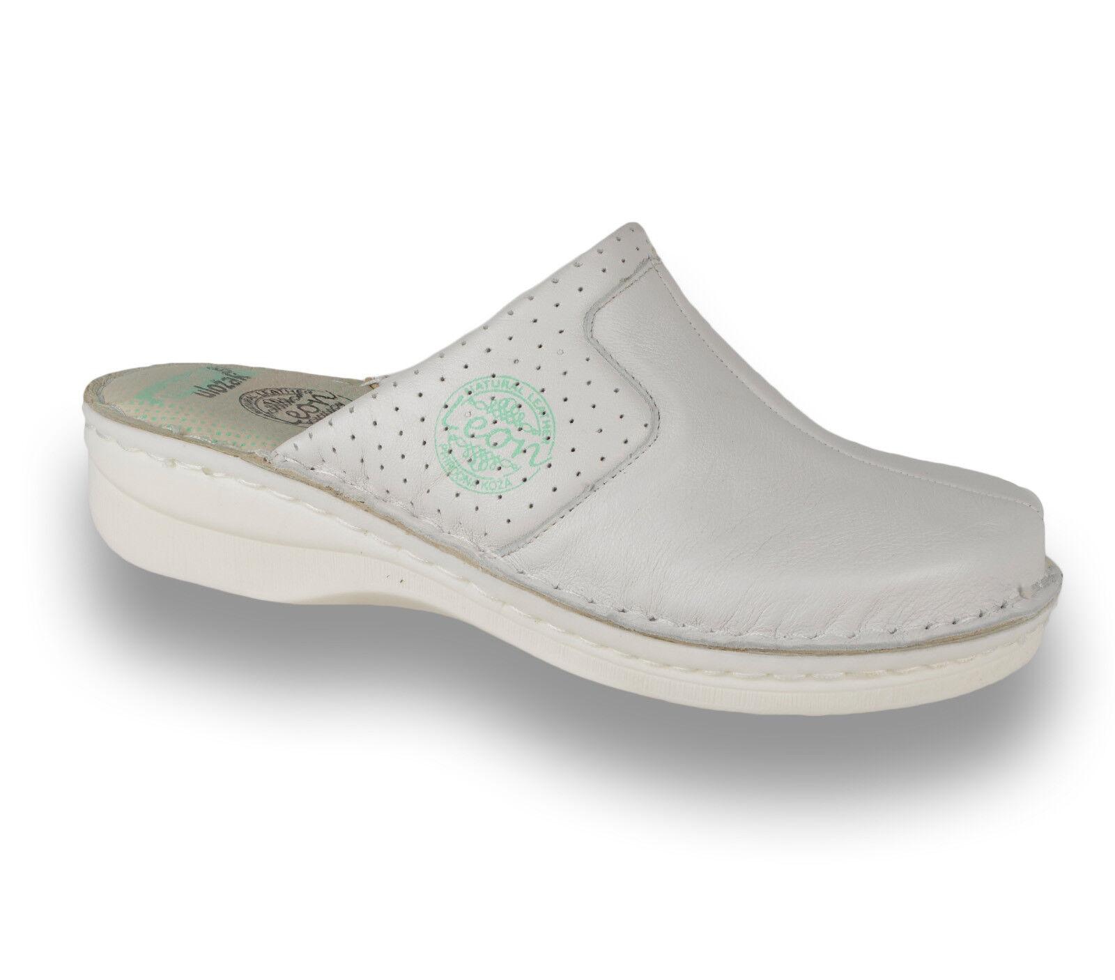 LEON 360 Mesdames femmes Cuir à Enfiler Mules Sabots Chaussons Sandales, blanc Nouveau Uk