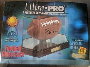 New Ultra Pro Glass Mirror Octagon Football Display Case Cherry Wood Ebay