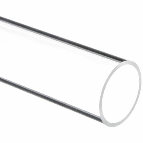 """Pack of 2 Nominal Clear Extruded Acrylic Round Tube 3/"""" ID x 3 1//4/"""" OD x 3ft"""