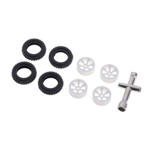 4 Sätze 1:28 Gummireifen Reifen mit Kunststoffrad Felge für Wltoys K989 RC