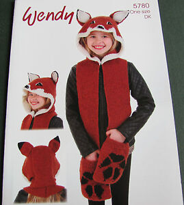 Wendy Knitted Fox Scarf Hood Leaflet 5780 One Size Double Knit Ebay