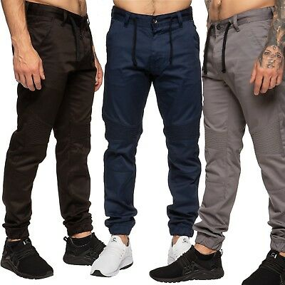 Mens AD /& Enzo New Cuffed Slim Stretch Chinos Jogger Skinny Pants Designer Jeans