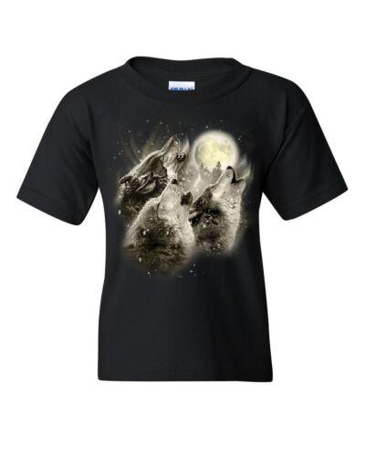 Wolf Howl Youth T-Shirt Wild Wolf Pack Predator Animals Nature Moon Kids Tee