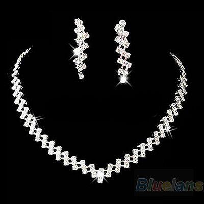Grail Bridal Wedding Jewelry Crystal Rhinestone Diamante Necklace & Earring B57U