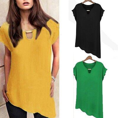 Women Chiffon Lace Short Sleeve Crew Neck Casual Shirt Blouse Tops Tunic V-NECK