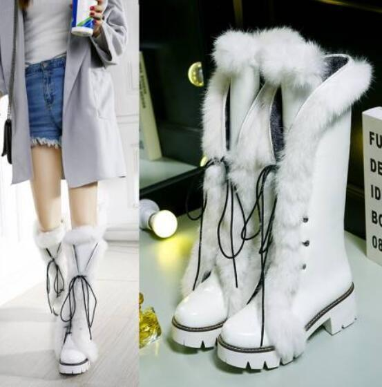 femmes Winter Fur Lace Up Knee High Ridding bottes Pu leather Combat Flat chaussures