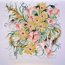 Art Greeting Card Flowers Birthday Thank you  Picture Watercolor Painting
