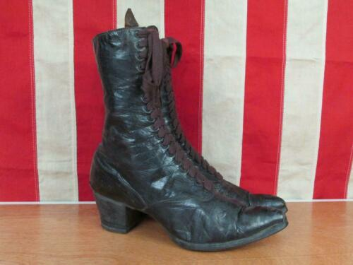 Vintage 1920s Black Leather Womens Victorian Boots