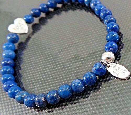 NEW 925 Sterling Silver Lapis Lazuli Stretch Bracelet Silver Heart Bead Love 8G