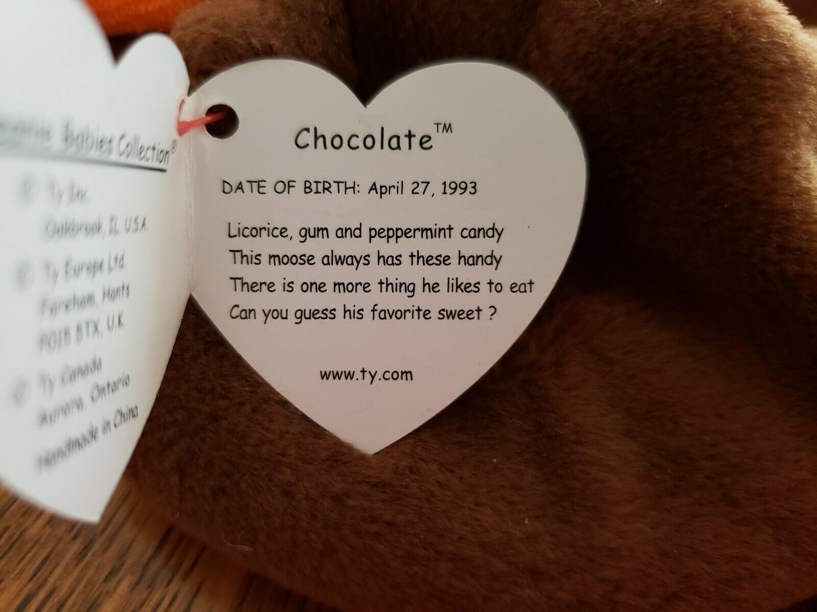 TY TY TY Beanie Baby Chocolate The Moose MWMT April 27,1993 Retired One of Original 9 7f32d9