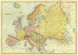 Map Of Europe Georgia.Details About Europe Political Shows Independent Georgia Austria Hungary Blackie 1893 Map