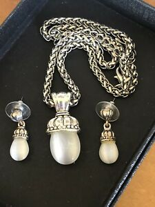 White Cats Eye Gemstone Pendant Necklace Matching Earrings Silver Tone Ebay