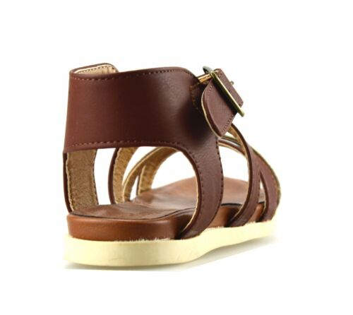Girls Kids New Flat Heel Summer Ankle Strap Party Gladiator Sandals Shoes Size