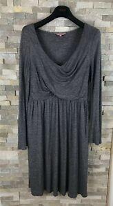 Phase-Eight-Ladies-Size-14-UK-Drape-Grey-V-Neck-Long-Sleeved-Jumper-Shift-Dress