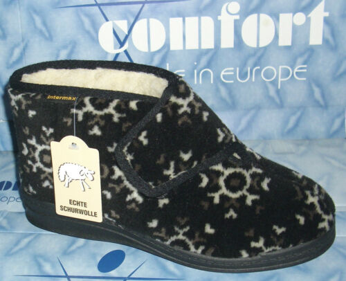 INTERMAX Slippers Warm Chalet Boots House Booty Touch Fastener Plush Virgin Wool