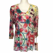 NWT Johnny Was Barra Floral 3/4 Sleeve 100% Silk Blouse Cover-Up SZ Small $200