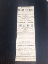 C5-2 ephemera 1934 Advert Gracie Fields Sing As We Go Grand Theatre Falmouth