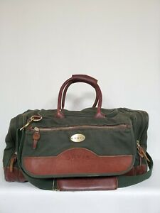Orvis-Green-Canvas-Leather-Fishing-Hunting-Carry-on-Duffle-Bag