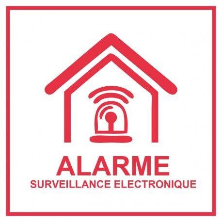 Autocollant rouge Etablissement maison magasin sous vidéo surveillance alarme 7