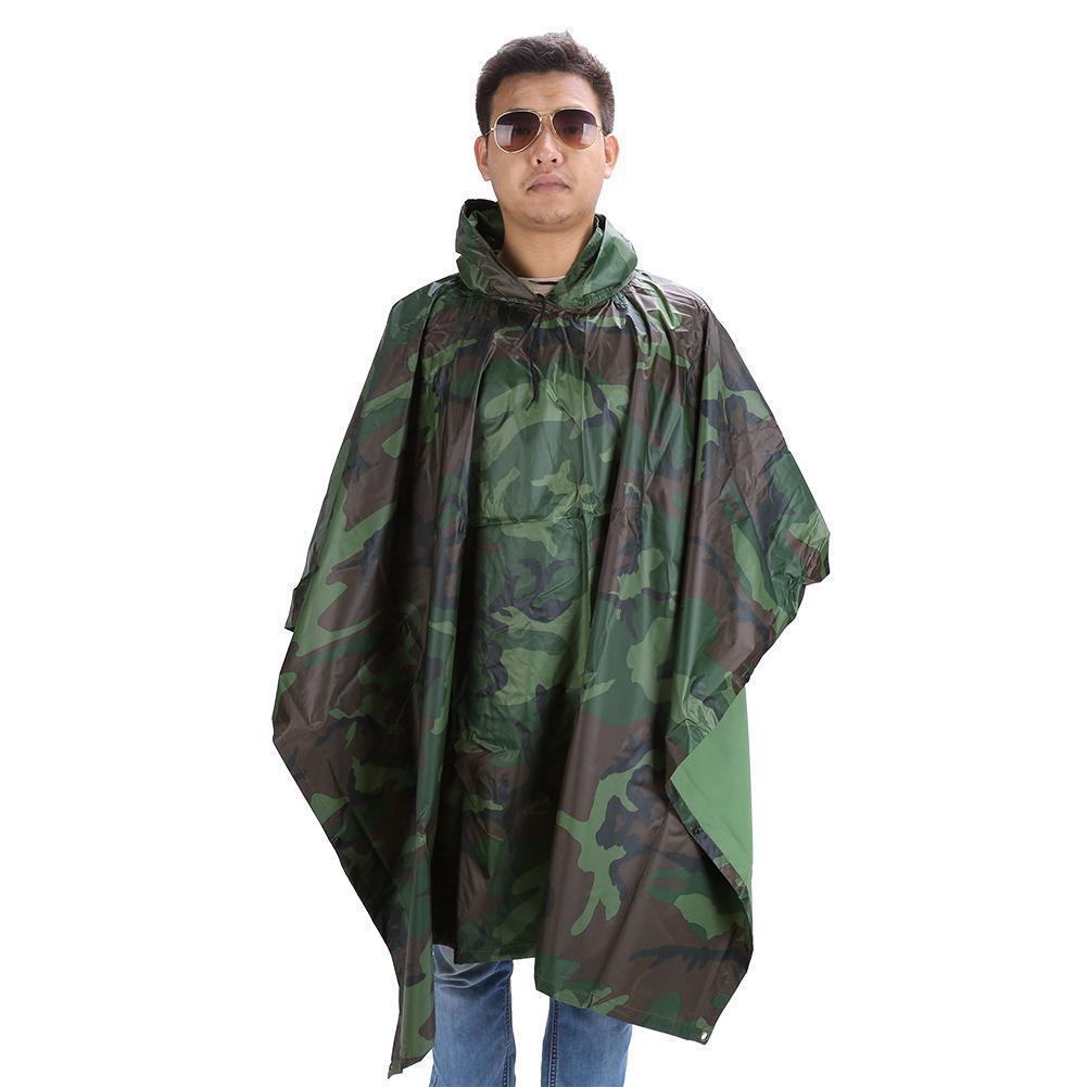 Poncho Impermeable Ejército Camuflaje Ripstop Con Capucha Capucha Capucha Para Lluvia Senderismo 180cda