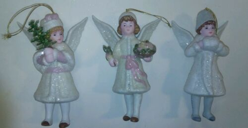 Set Of 3 Costco Vietorian Style Christmas Tree Angel Holiday Ornaments