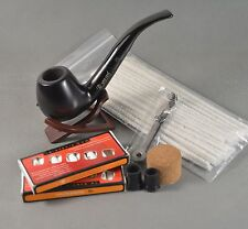 Black Natural Ebony Wood Tobacco Smoking Pipe With Fittings Cleaners Set 6 in 1