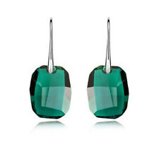 Emerald Green Crystal 925 Silver Dangle Earrings Made with Swarovski Elements