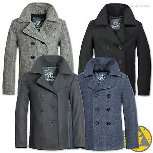 Brandit Classic Pea Coat Wool Blend Winter Windproof Navy Army ...