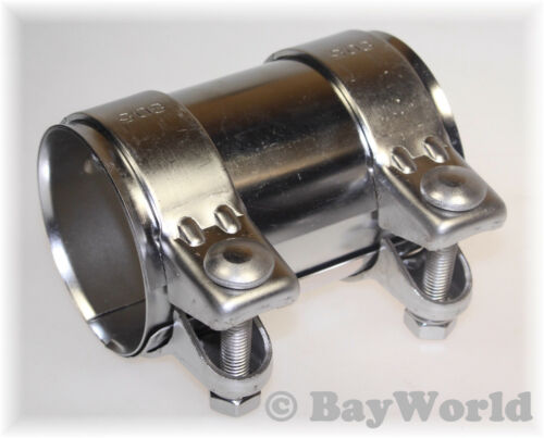 1x Universal Rohrverbinder 76x125mm komplett Edelstahl V2A Doppelschelle Auspuff