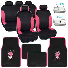 Pink Trim Black Poly Cloth Seat Covers for Car SUV Truck + Flower Floor Mats