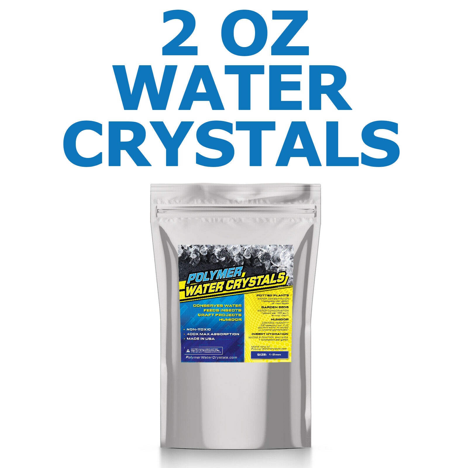 2 OZ Water Polymer Crystals Soil Conserve Watering Insect Feeding Cricket - USA