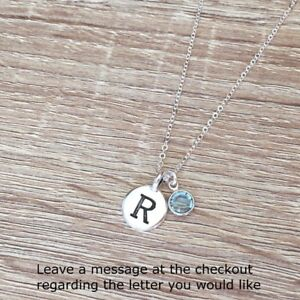 Personalized-Necklace-Antique-Silver-Letter-Pendant-Initial-Birthstone-Jewelry