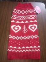 Dog Sweater Size Medium Red And White Design With Hearts Red Trim Knitted