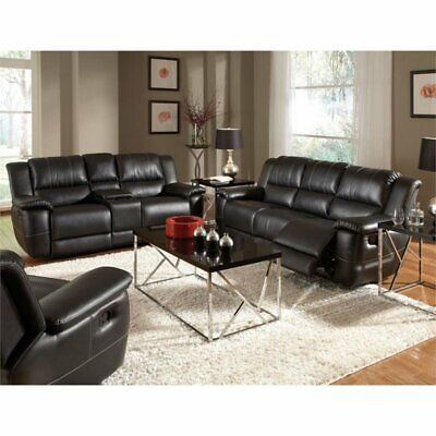 Leather Reclining Sofa Set In Black