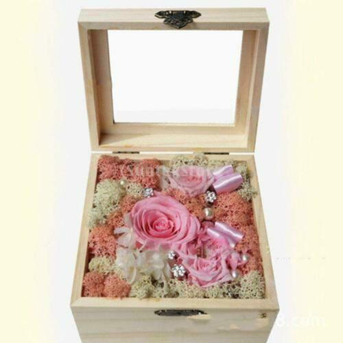 Natural Wood Box Eternal Flower Container Hinged-Glass Top Storage Case