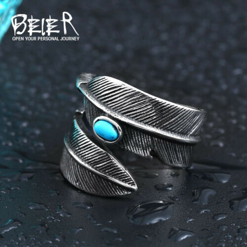 Ring For Men Feather Blue Stone Stainless Steel Classic Gothic Punk Rock Biker