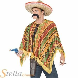 Hombre-Poncho-amp-Bigote-Bandido-Mexicano-Vaquero-Disfraz-INSTANTE-Conjunto-De