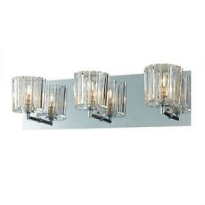 Led Wall Sconce Light Fixtures : Crystal Bathroom Wall 3-Light Fixture Candle Sconces Vanity Lighting Modern Lamp eBay