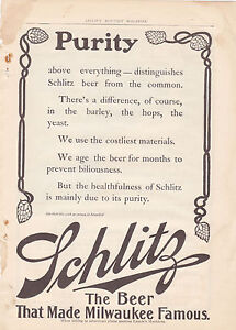 MAGAZINE AD #A2-058 - 1800s to early 1900s SCHLITZ BEER - PURITY