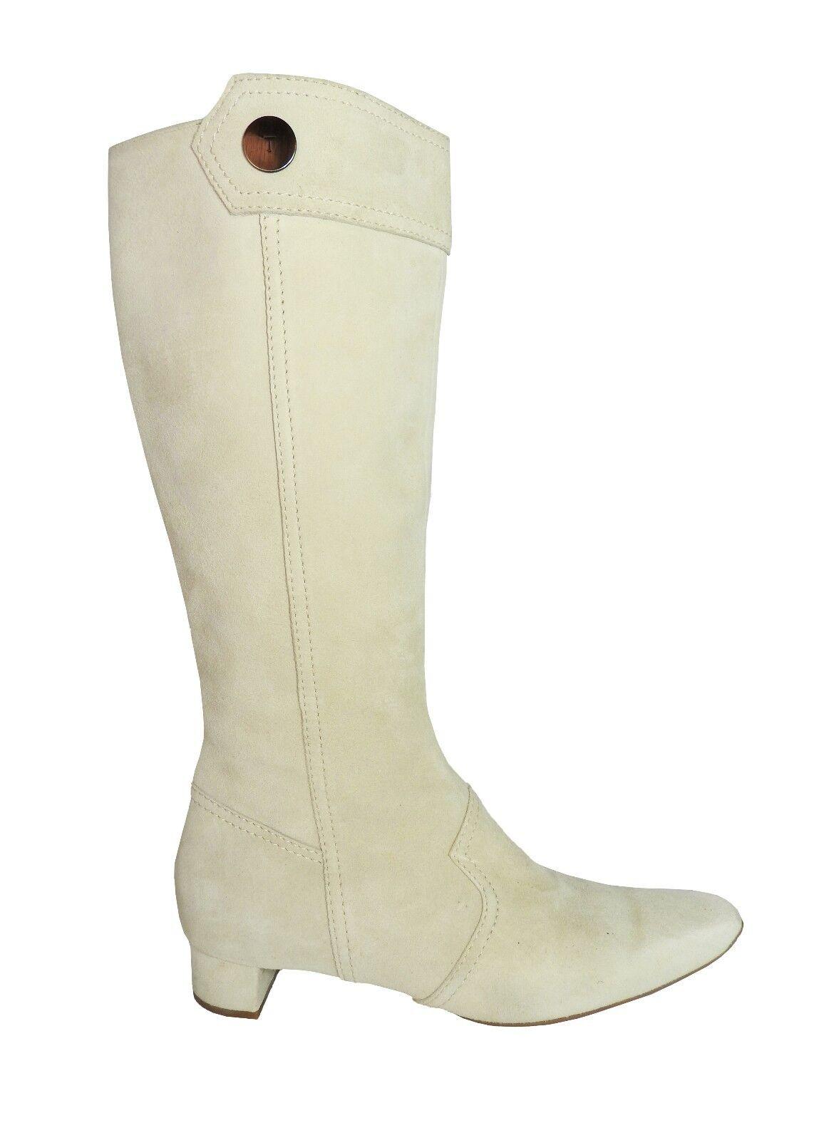 economico e di alta qualità Tod's Beige Suede Low Heel Heel Heel Side Zip Button Detail Knee High Mod stivali Dimensione 8  fino al 65% di sconto
