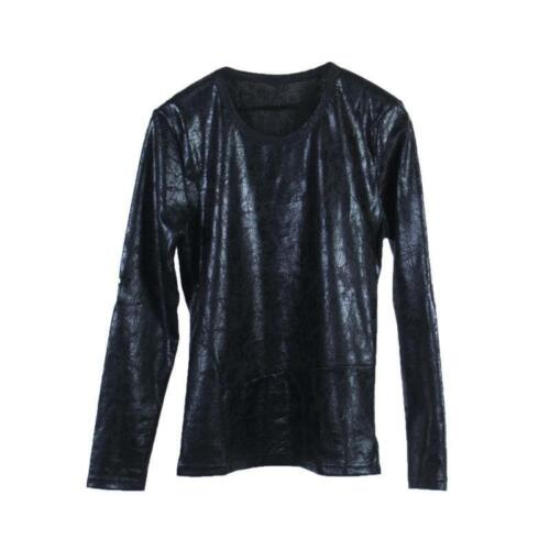 Chic Men/'s Winter Round Neck Black Punk PU Leather T-shirt Slim Fit Gothic Tops