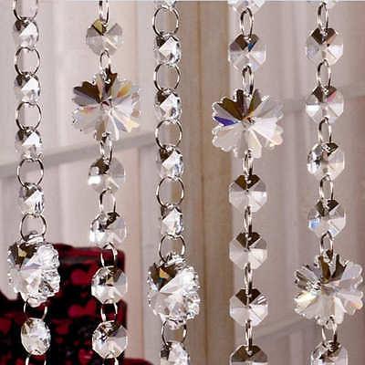 1M Glass Crystal Bead Garland Chandelier Hanging DIY Wedding Supply