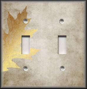 Metal Light Switch Plate Covers Nature Decor Vintage Leaf Design