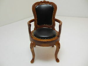 Dollhouse Miniatures Furniture 1/12: S1 12056nwn Walnut Leatherette Chair