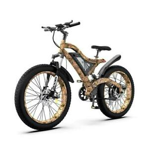 "Aostirmotor Electric Bike S18 1500w 48v Mountain Bicycle 26"" Fat Tire Camo Ebike"