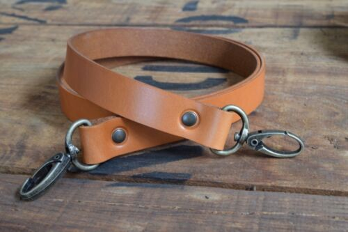 Replacement Leather ShoulderBag Strap 25mm wide 1200mm long antique brass clasps