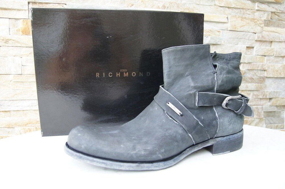John Richmond 45 11 Bottines Bottes Chaussures Anthracite Neuf Autrefois