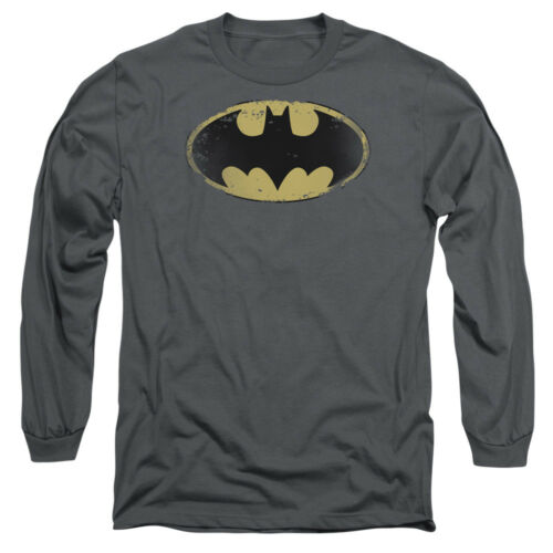 Batman DISTRESSED BAT SHIELD LOGO Licensed Adult Long Sleeve T-Shirt S-3XL