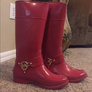 Michael Kors Red Rubber Rain Boots